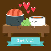Postcard Valentine's Day Illustration with funny characters Love and hearts Japanese traditional cuisine illustration Cute sushi character Japanese food