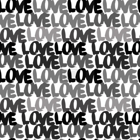 Illustration for Hand drawn letters seamless pattern. Love pattern. Pattern with letters - Royalty Free Image