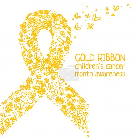 Illustration for Gold ribbon, symbol of the fight against breast cancer in a pencil style. Children's cancer awareness symbol in Pencil style. Vector illustration - Royalty Free Image