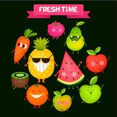 A set of cute fruits.