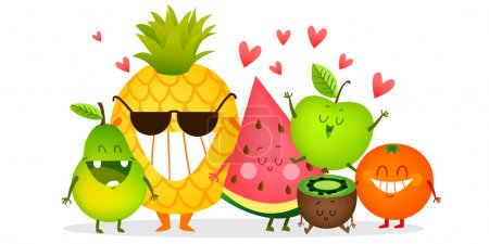 Illustration for A set of cute fruits. Illustration with funny characters. Love and hearts. Funny food. time fresh. - Royalty Free Image