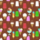 Set icons of ice cream Pattern background