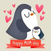 Happy mothers day with penguins vector illustration Baby and mother together illustration cute animals