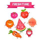 A set of cute fruits Illustration with funny characters Love and hearts Funny food time fresh Raspberries and strawberries berries  Carrots oranges watermelon apple