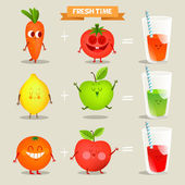 A set of cute fruits Illustration with funny characters Love and hearts Funny food time fresh Various kinds of fresh juices Recipe fresh juice juices