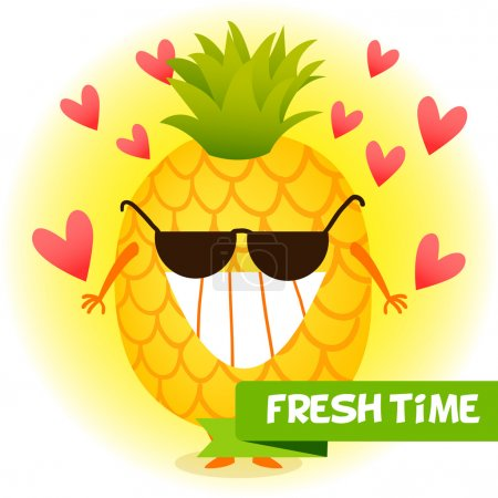 Illustration for Illustration with funny characters. Love and hearts. Funny food. time fresh. Healthy foods. Pineapple wearing sunglasses with a smile. fresh pineapple. - Royalty Free Image