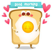 Cute breakfast:fried egg toast Postcard Valentine's Day Illustration with funny characters Love and hearts Funny food