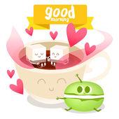 šálek kávy a zákusek makarónek barevné