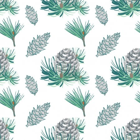 Seamless pattern with cones and fur-tree branches