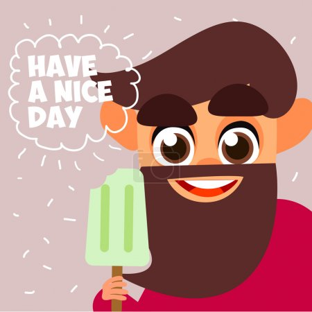 Illustration for People eating ice cream. Have a nice day. Cheerful man with ice cream. The smile and joy cartoon. Vector illustration of style flat. Vector illustration of comic characters - Royalty Free Image
