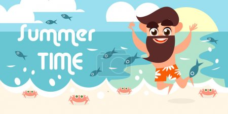 Illustration for Summer vacation with character design.Vector illustration. Summer holiday. Boy on the beach. Summer illustration in flat style. Cute cartoon character - Royalty Free Image