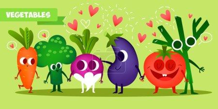 Illustration pour Ensemble de fruits mignons. Illustration avec des personnages drôles. Amour et cœurs. Drôle de nourriture. le temps frais. Tomate, radis, brocoli, fenouil, carotte - image libre de droit