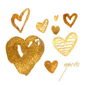 Drawing freehand brush style hearts Elements for Valentine's Day Vector metallic glamour gold hearts
