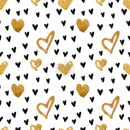 Illustration for Abstract background with hearts. Drawing freehand brush style. Background for Valentine's Day. Vector metallic paint blob pattern with glamour gold and black hearts. - Royalty Free Image