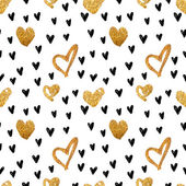 Abstract background with hearts Drawing freehand brush style Background for Valentine's Day Vector metallic paint blob pattern with glamour gold and black hearts