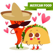 Postcard Valentine's Day Illustration with funny characters Love and heartsMexican traditional food Red and hot! chili pepper and tacos with funny cartoon face