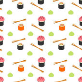 Seamless flat stylised sushi pattern Sushi Pattern : Vector Illustration Sushi and rolls seamless pattern Sushi background style flat Colorful flat style sushi pattern