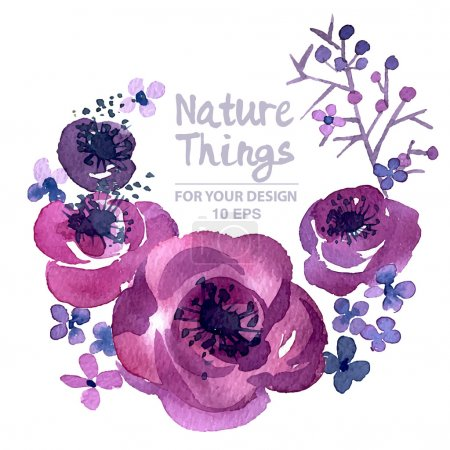 Illustration pour Aquarelle vectorielle Poppies.Colorful floral conception de printemps pour invitation, mariage ou cartes de vœux - image libre de droit