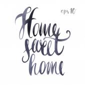 Suitcase watercolor poster hand drawn I love my home Handwritten illustration in the style of calligraphy Home sweet home ink calligraphy