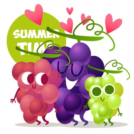set of cute grapes