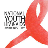 Vector illustration in watercolor style of red Ribbon HIV AIDS
