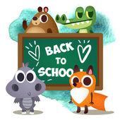animals in cartoon style on school theme