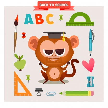 Illustration for Animal in cartoon style on the school theme. Back to school. Cute Animal and set back to school. - Royalty Free Image