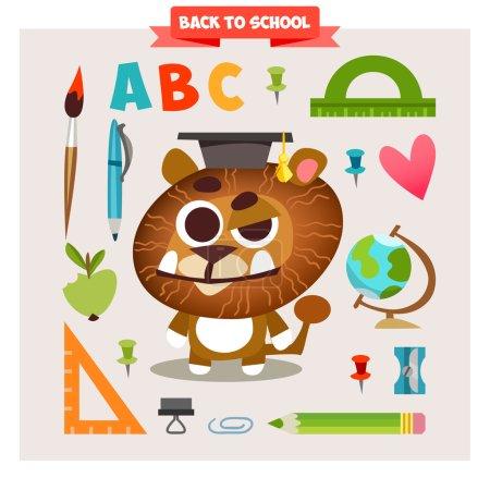 Animal in cartoon style on school theme