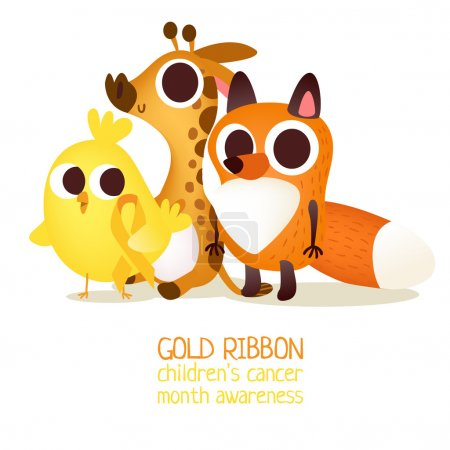 Little animals with golden ribbon.