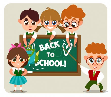 Back to school. Cartoon characters.