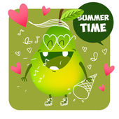Children's illustration with funny character Funny healthy food Summer time