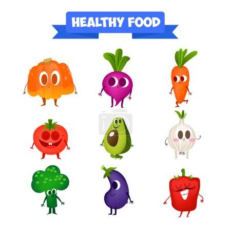 Illustration pour Un ensemble de légumes mignons. Illustration avec des personnages drôles. Drôle de nourriture. Des légumes mignons. Poivre, ail, tomate. La famille. 100 % RAW. L'heure d'été. Repas frais. famille de fruits - image libre de droit