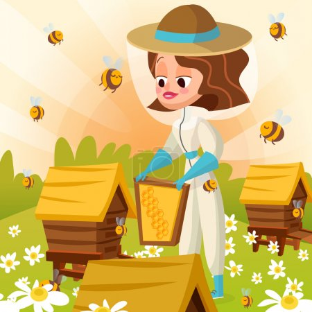 Photo for Apiary beekeeper vector illustrations. Bees, honey, bee houses, summer. - Royalty Free Image