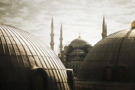 Photo pour Turquie-16 FÉVRIER 2015 Image de la majestueuse Sainte-Sophie le 16 février à Istanbul, Turquie . - image libre de droit