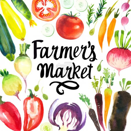Illustration with watercolor food. Farmers market.