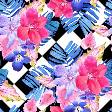 Seamless pattern with pink and blue realistic watercolor flowers.