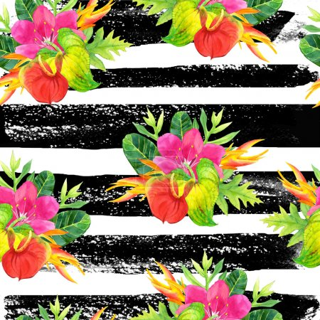 Photo for Beautiful pattern with tropical flowers and plants on striped black and white background. Composition with palm leaves, anthurium and strelitzia. - Royalty Free Image