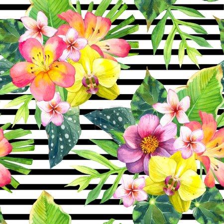 fond sans couture avec des fleurs tropicales .