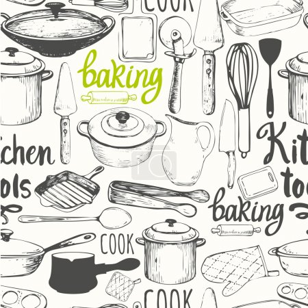 Illustration pour Illustration vectorielle avec des symboles de cuisson drôles sur fond blanc. Éléments décoratifs pour votre design d'emballage. Décor multicolore . - image libre de droit