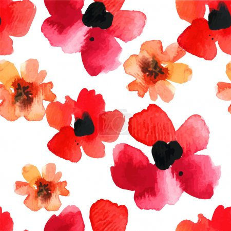 Watercolor red poppies background