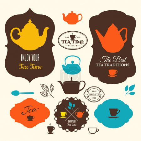 Set of tea labels and icons