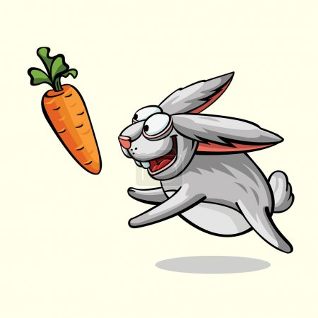 crazy rabbit running for carrot