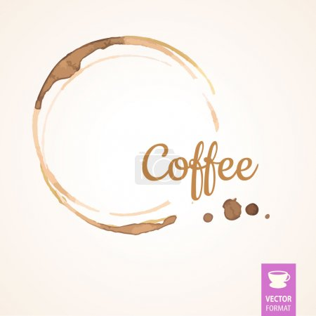 Illustration for Vector round coffee stain on white background - Royalty Free Image