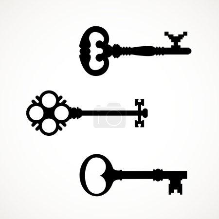 Vintage keys silhouettes