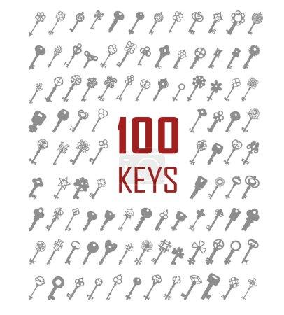 Illustration pour Ensemble noir et blanc de silhouettes de clés dans différentes formes. Cent silhouettes . - image libre de droit