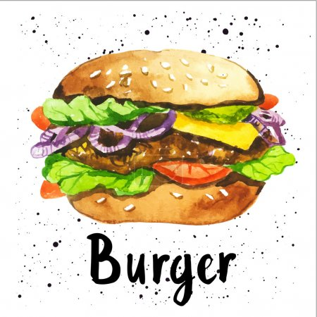 Poster with hand-drawn sketch of burger. Fast food...