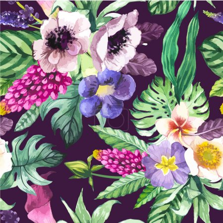 Illustration for Beautiful seamless background with tropical flowers and plants on black. Composition with calla lily, anemone and leaves. - Royalty Free Image