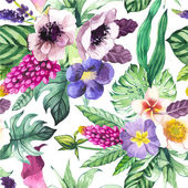 Vector illustration with watercolor flowers