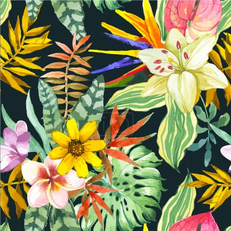 Illustration for Beautiful seamless background with tropical flowers and plants on black. Composition with white lily, monstera leaves, plumeria and anthurium. - Royalty Free Image