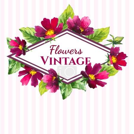 Illustration pour Beau bouquet et signe avec des fleurs de couleur bordeaux et des plantes sur fond rayé blanc . - image libre de droit